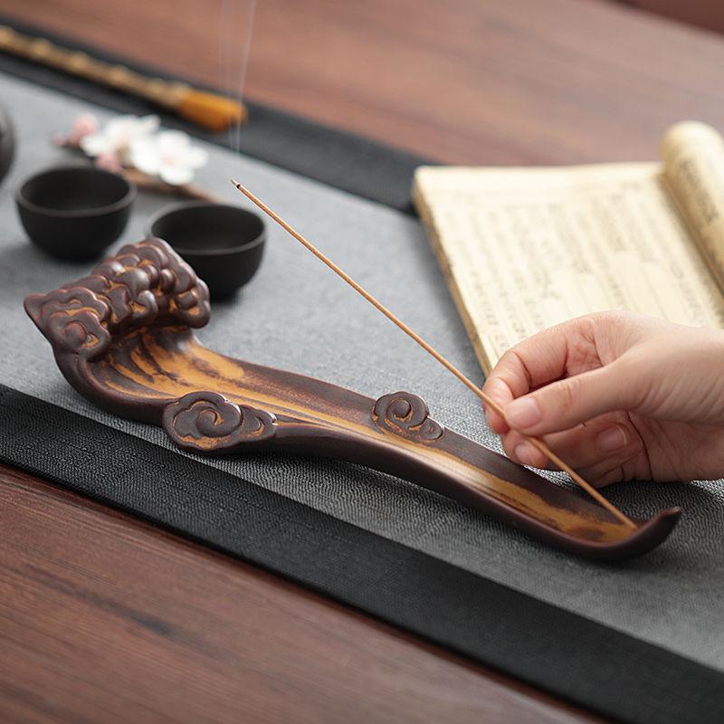 創意祥云臥香爐香插香座禪意復古陶瓷擺件線
