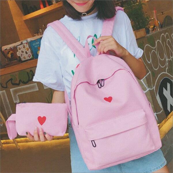 甜心小舖♥素面愛心後背包♥韓版背包 書包 旅行包 休閒包 包包