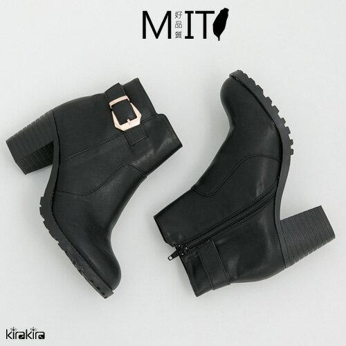 皮革金釦粗跟短靴