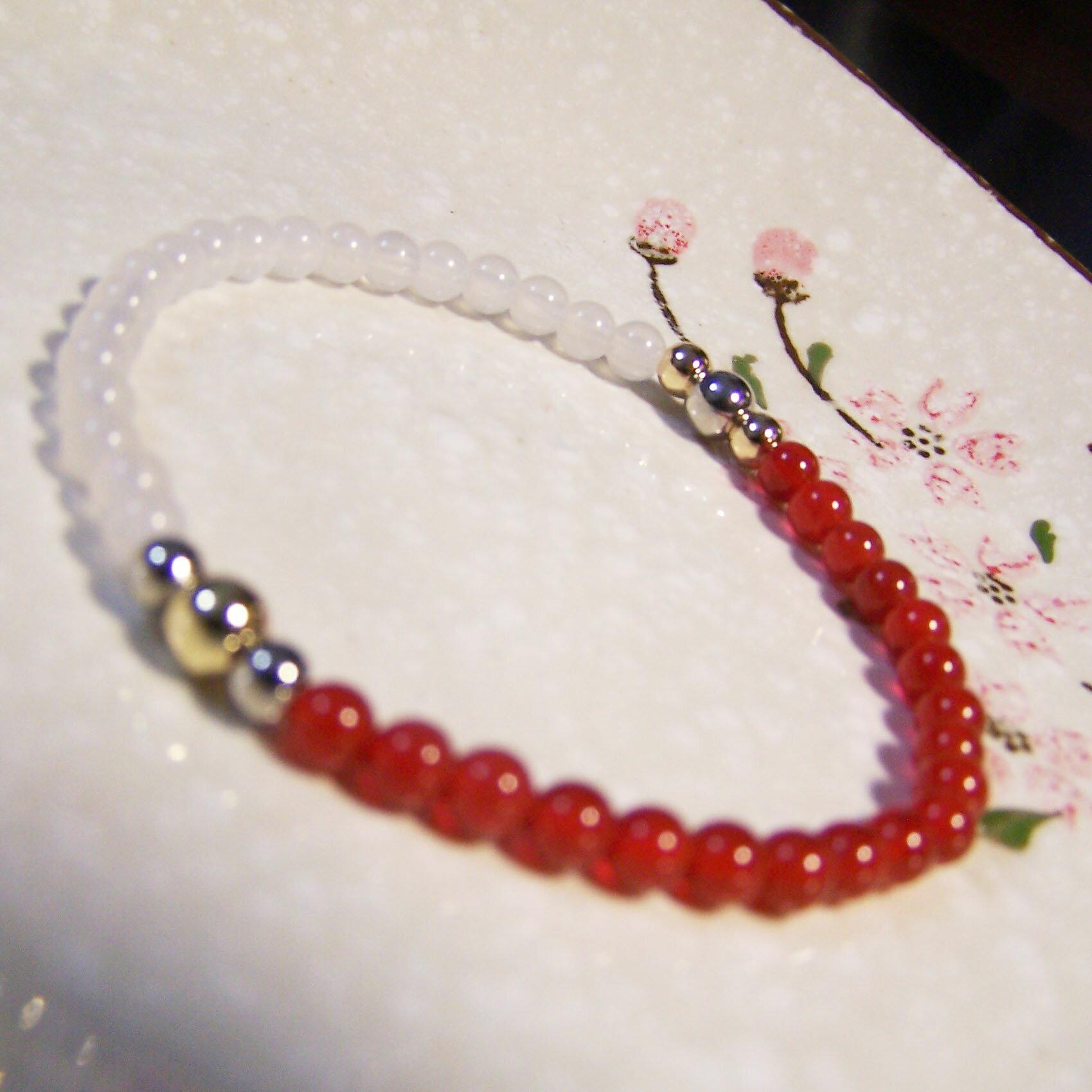 be young【比漾】Mini 秀麗手環 (紅瑪瑙+晶白玉) 單圈手鏈 2