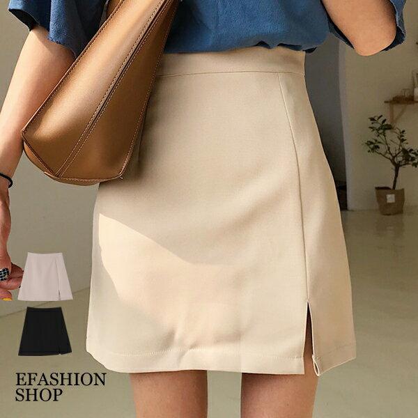 前小開叉後拉鍊短裙(內短褲)-eFashion預【H16536020】