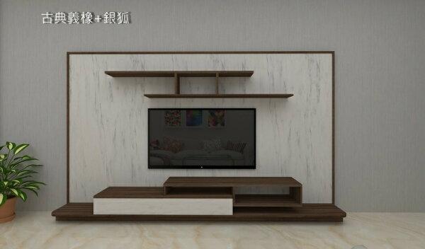 HL1001(12尺)電視牆組電視櫃層架吊櫃屏風牆面展示