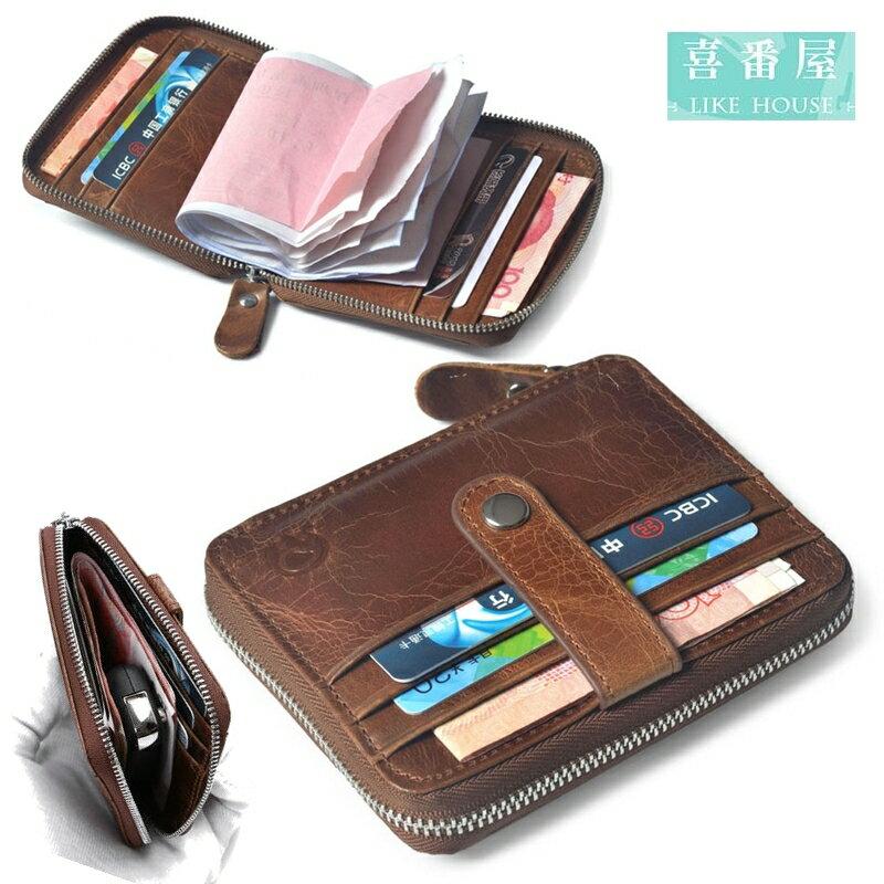 【喜番屋】真皮油蠟牛皮12卡位男女通用皮夾皮包錢夾零錢包方塊短夾卡片包卡片夾卡包卡夾證件夾男夾女夾LH405