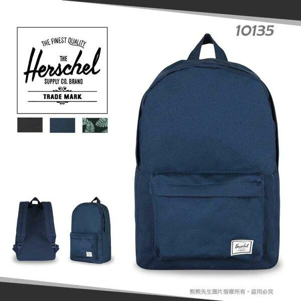 《熊熊先生》Herschel帆布後背包後背包雙拉鍊休閒包10135外出包輕量旅遊包ClassicMid可調式寬版背帶