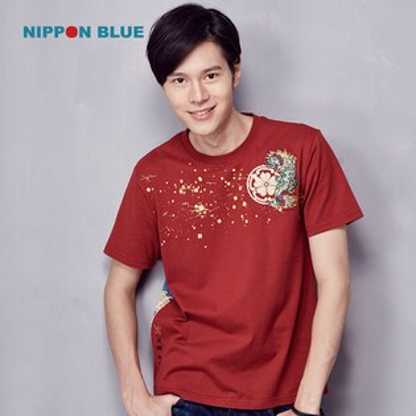 金標五輪唐獅子短袖T恤-BLUEWAYNIPPONBLUE日本藍