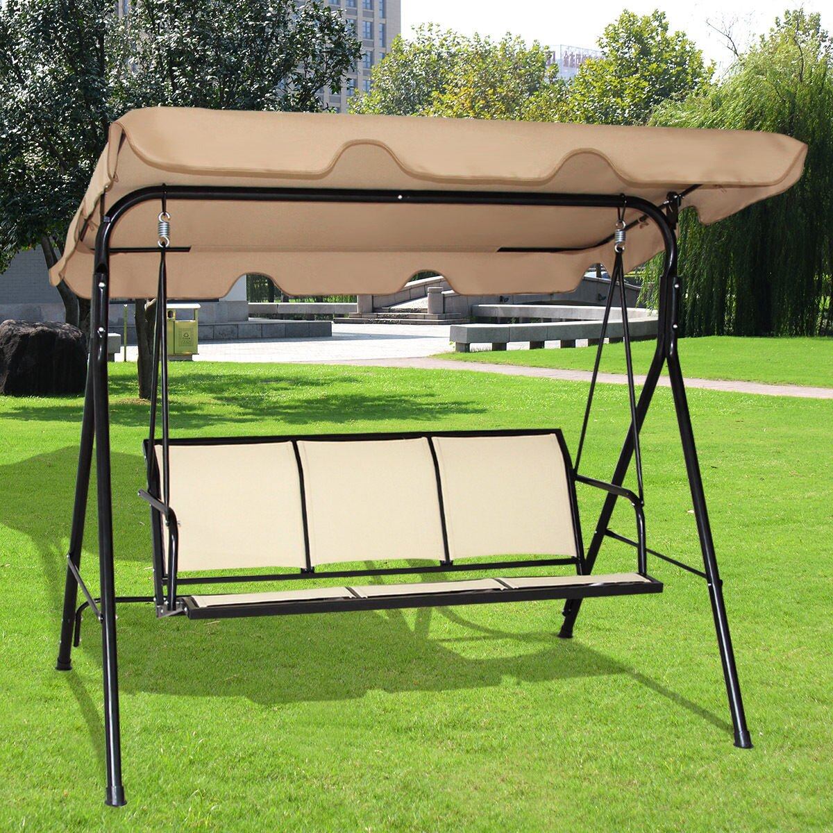 Costway 3 Person Outdoor Patio Swing Canopy Awning Yard Furniture Hammock  Steel Beige 0