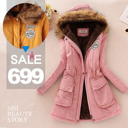 SiSi Girl:SISI【C5046】高質感加厚款韓版大毛毛領連帽標章縮腰加厚刷毛保暖軍裝外套抽繩加厚刷毛中長款風衣大衣