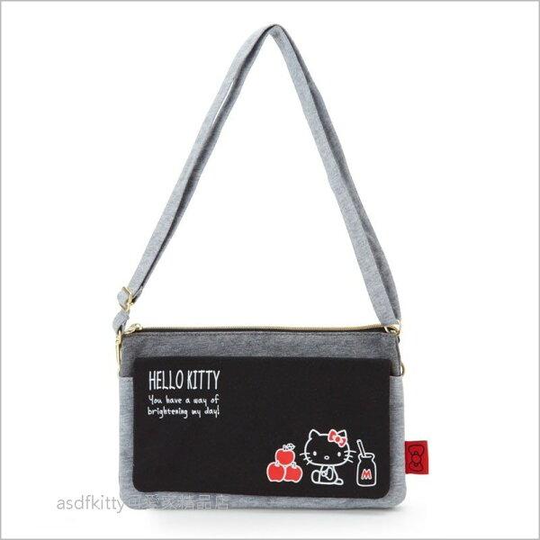 asdfkitty可愛家☆KITTY灰黑色蘋果側背包肩背包手機包收納包-日本正版商品