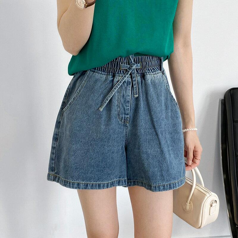 柔軟薄款闊腿水洗牛仔短褲女2021顯瘦休閒鬆緊高腰褲子女裝