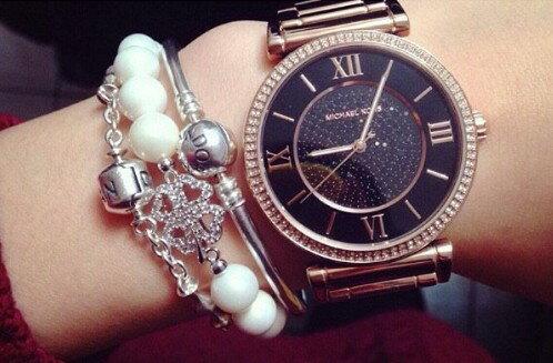 美國Outlet正品代購 MichaelKors MK 復古羅馬滿天星貝殼面鑲鑽黑玫瑰金     手錶 腕錶 MK3356 5