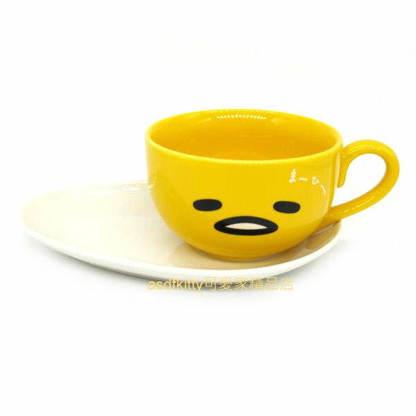 asdfkitty可愛家☆蛋黃哥陶瓷咖啡杯+蛋糕盤-馬克杯/點心盤-下午茶-早餐-日本正版商品