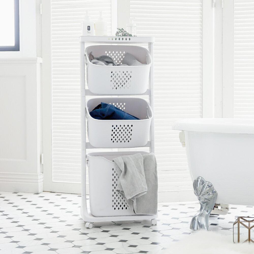 洗衣籃架 / 洗衣籃車 / 衣物分類 Kira三層收納髒衣籃(附輪) 完美主義【F0077】 1