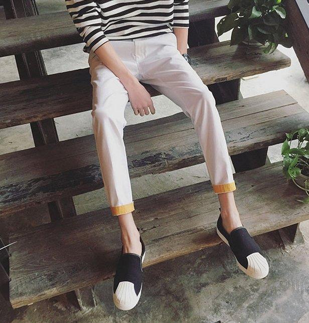 【JP.美日韓】ZNIF 韓國簡約 白色 白褲 休閒褲 工作褲 下擺翻摺 黃色 質感推薦 挺 工作褲 不軟弱