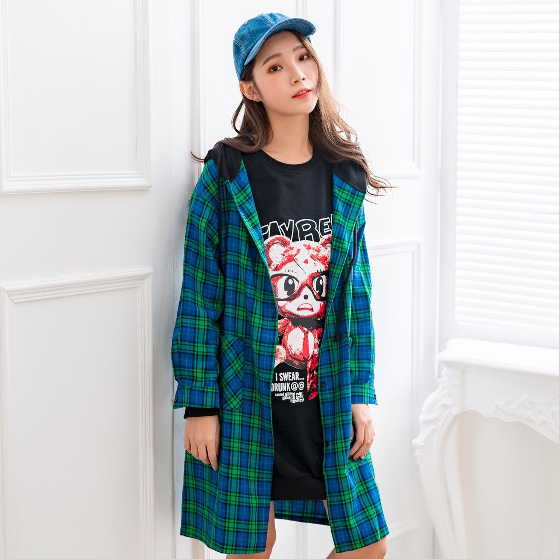 長版外套--時尚休閒亮麗格紋口袋寬鬆襯衫長版連帽運動外套(綠.黃L-3L)-J252眼圈熊中大尺碼 0