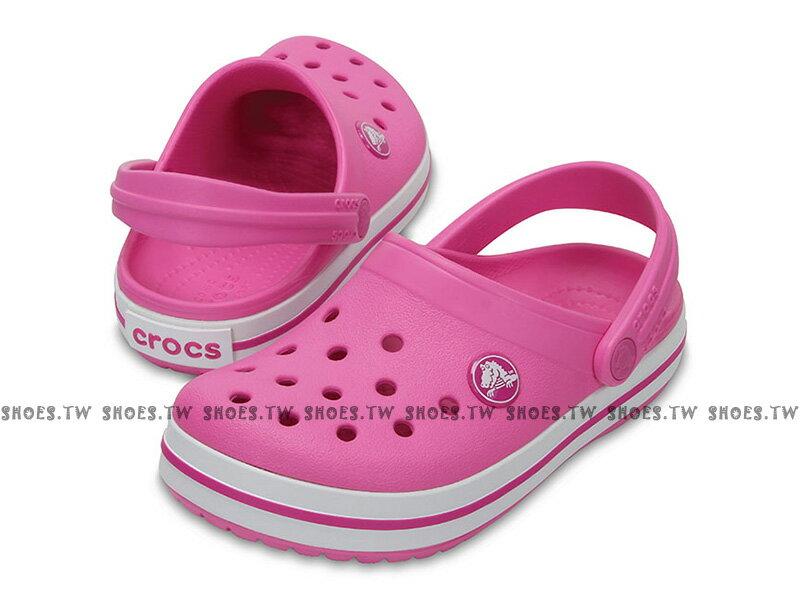 Shoestw【204537-6U9】CROCS 卡駱馳 鱷魚 輕便鞋 拖鞋 涼鞋 粉紅白 童鞋款