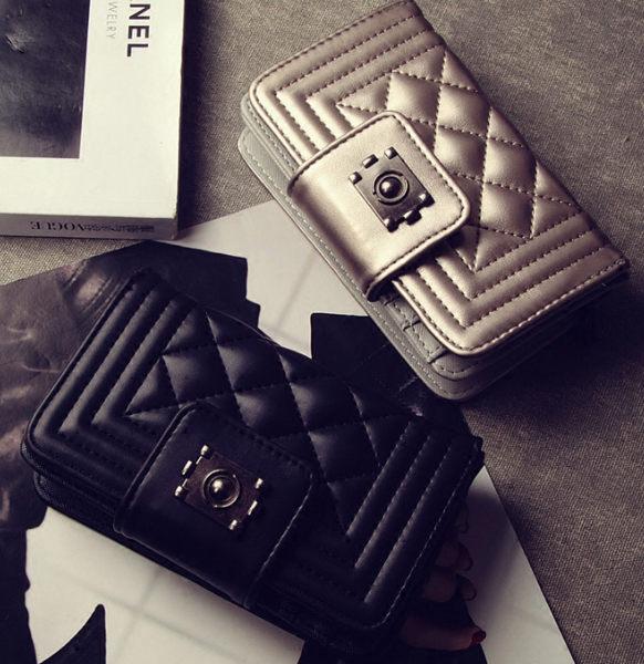 歐美小香風菱格鎖扣短夾 多卡位皮夾 錢包 零錢包