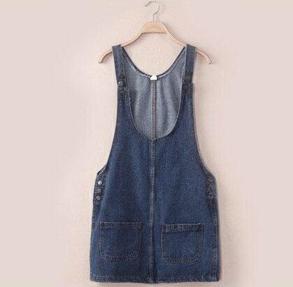 夏約輕甜.時尚顯瘦前後雙口袋造型吊帶牛仔裙★  shiny藍格子【V0787】 1