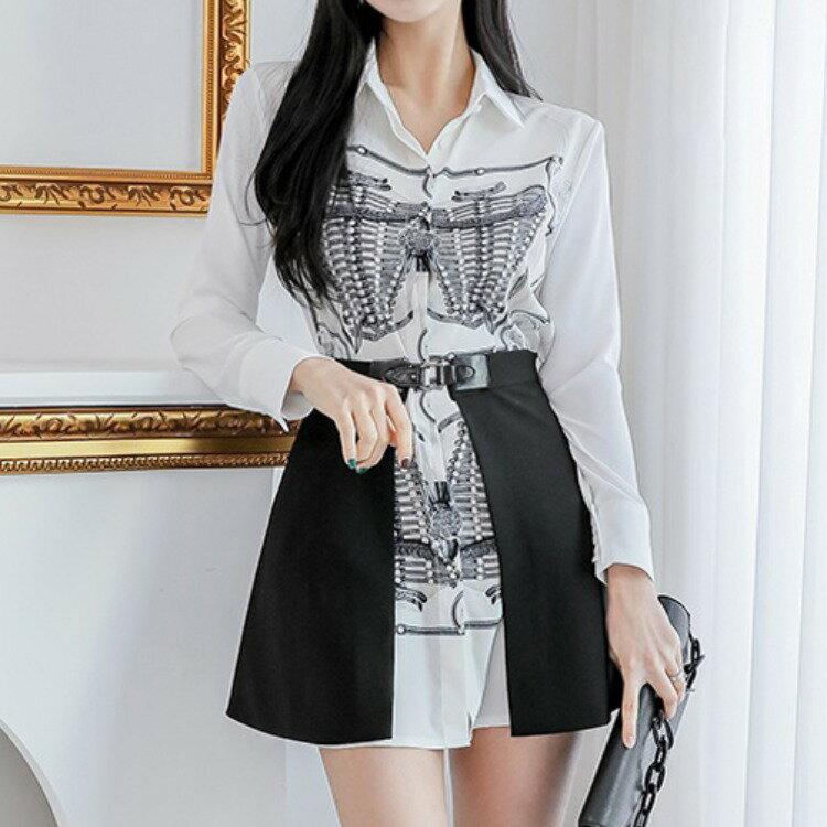 全店一件免運✦跨境新款兩件套2021韓版氣質時尚腰封收腰修身印花襯衫裙套裝女✦女裝