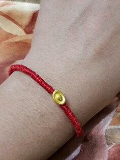 【彌月禮盒】純金9999黃金金元寶蠶絲手鍊重量0.07錢