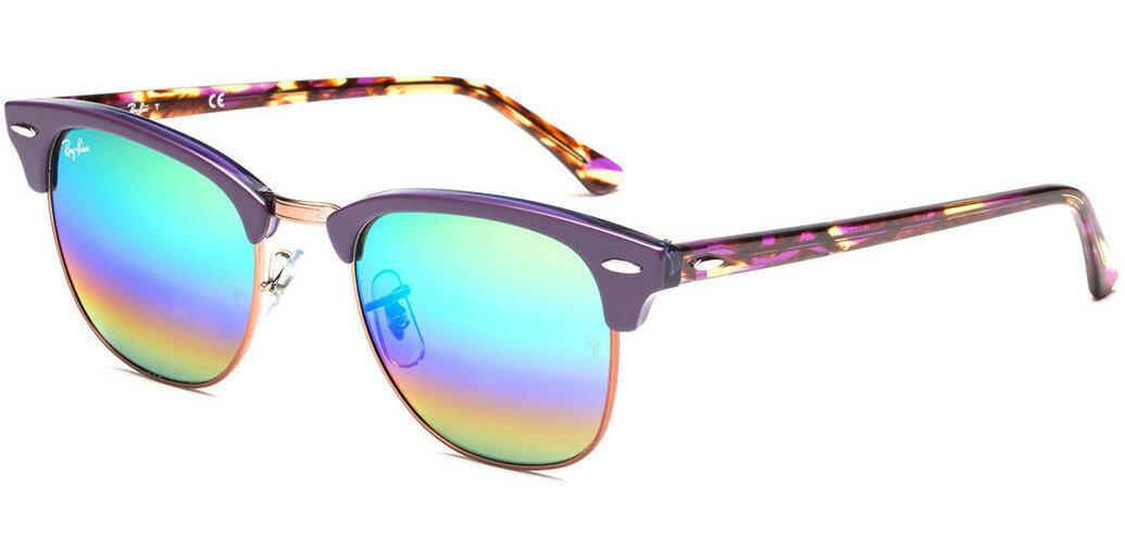 e61dd50c2c5 Ray-Ban Clubmaster Mineral Flash Lens 51mm Sunglasses (Bordeux Blue  Rainbow) 0