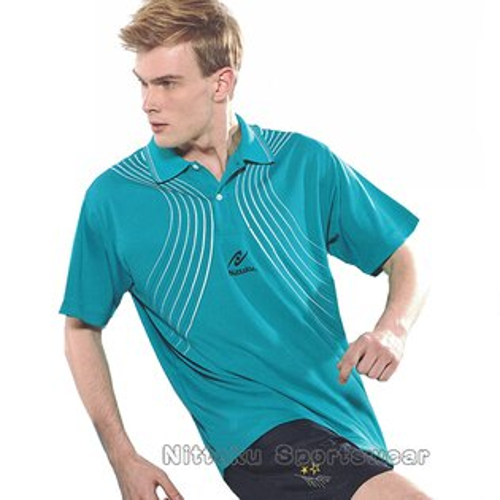 【日本名牌Nittaku】男女吸濕排汗印刷圖騰短POLO衫-湖藍#3820(排汗衫)