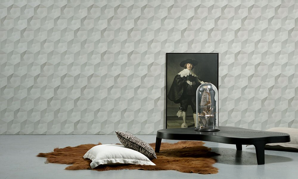 NLXL 灰色幾何形  3D 石紋 HEXA CERAMICS WALLPAPER BY STUDIO RODERICK VOS VOS-01 1