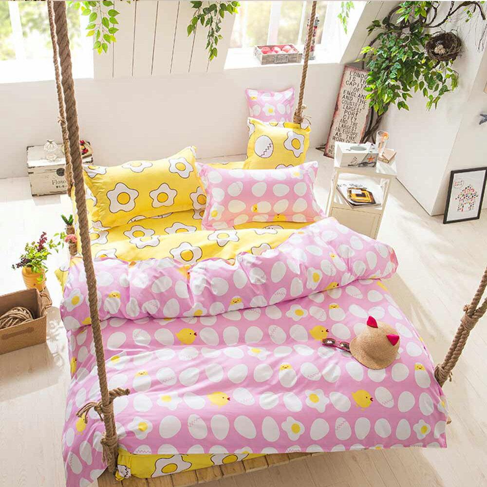 柔絲絨 被套床包組 雙人四件式-早安每一天(粉) / 哇哇購