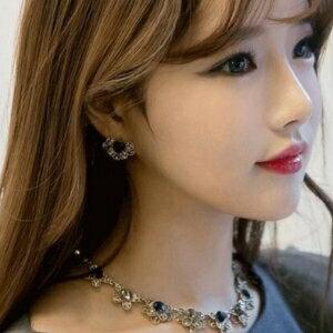 美麗大街【GE433】超美閃鑽水晶花瓣耳釘正品氣質時尚耳飾