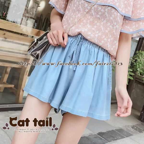 《貓尾巴》TS-0953甜美收腰顯瘦牛仔短裙(森林系日系棉麻文青清新)