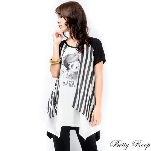 上衣 Betty Boop 直條紋雪紡拼接寬擺圓領長版上衣 0