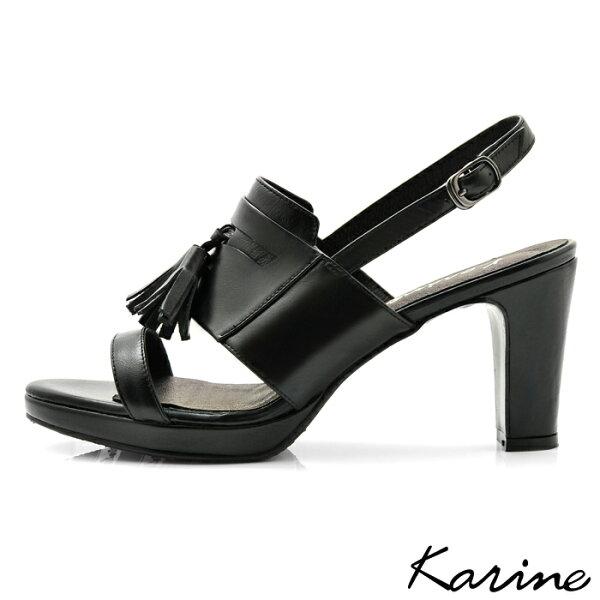 karine(MIT台灣製)全真皮一字帶流蘇高跟涼鞋-黑色
