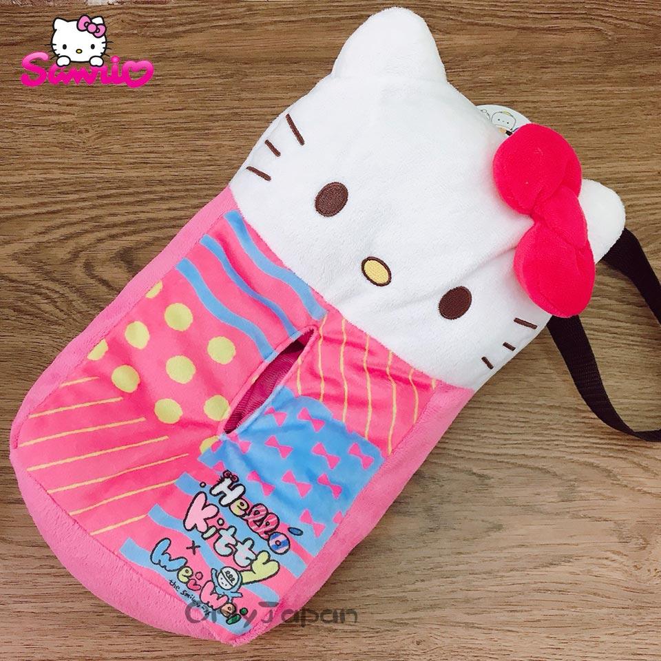 【真愛日本】18020300003 掛式面紙套-KT微笑 三麗鷗 kitty 凱蒂貓 絨毛 面紙盒套 汽車用品
