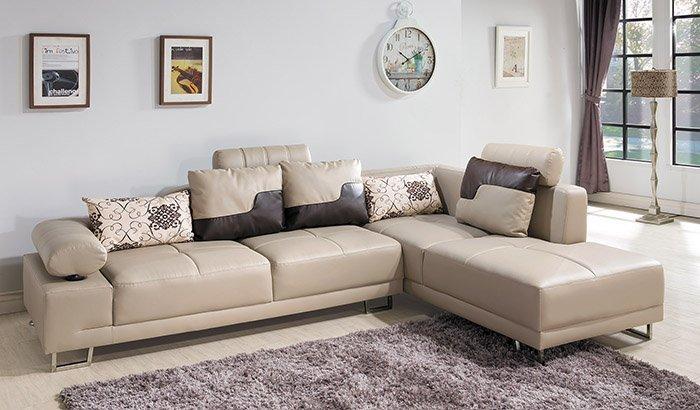 【尚品傢俱】 HY-A228-02 丹尼L型皮沙發 (米黃) 另有咖啡色