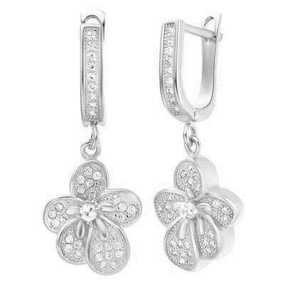 純銀耳環鍍白金鑲鑽耳飾~ 可愛精緻小花情人節生日 女飾品2色73cz16~ ~~米蘭 ~