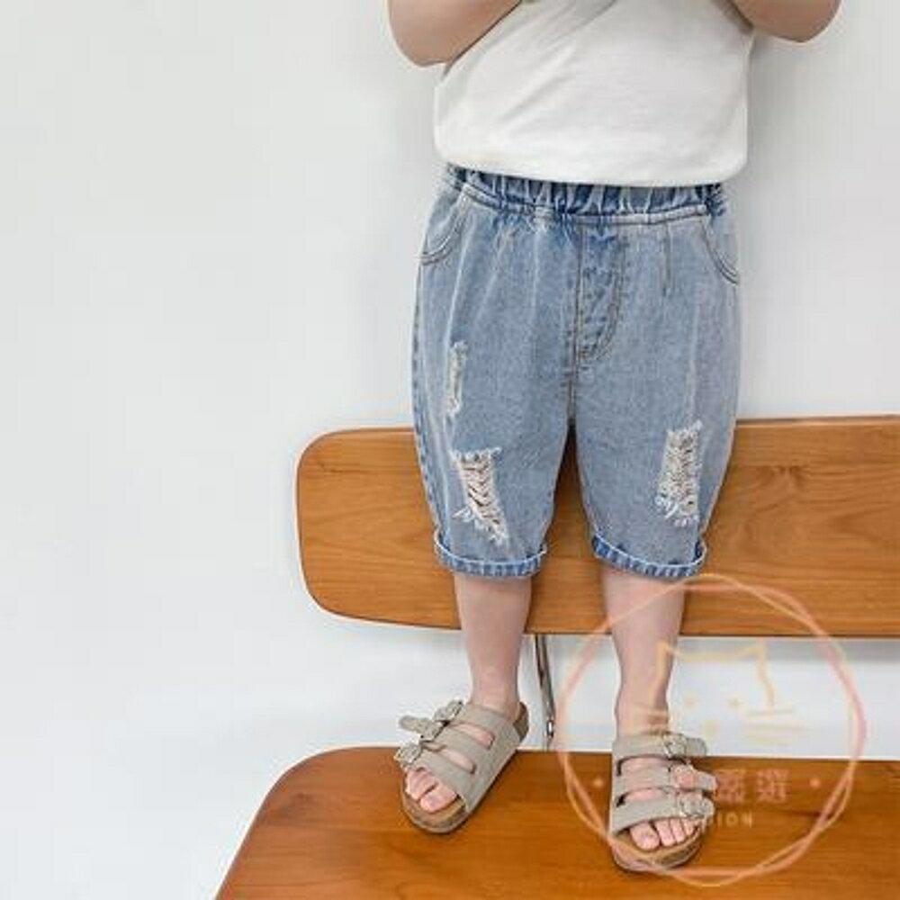 男童七分褲 男童牛仔短褲2020夏裝新款韓版兒童洋氣中褲小童破洞百搭七分褲潮【全館82折】