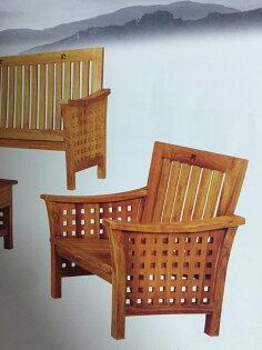 【石川家居】KL-15柚木方格子組椅台中以北搭配車趟免運費