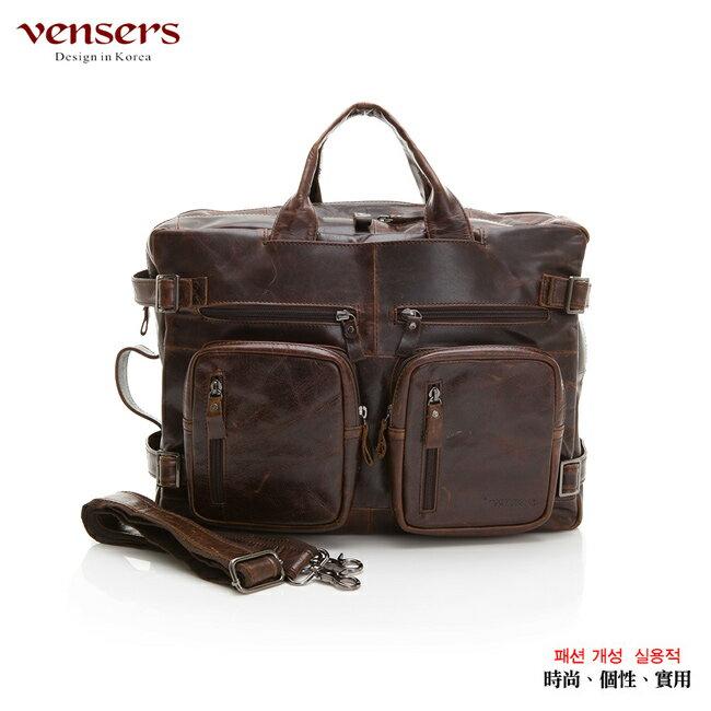【Vensers】小牛皮潮流個性包~多功能包(NE991101深咖啡) 0