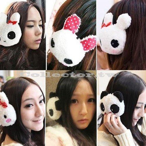 【M15121001】卡通動物熊貓、兔子髮箍耳罩 冬季可愛毛絨保暖耳套
