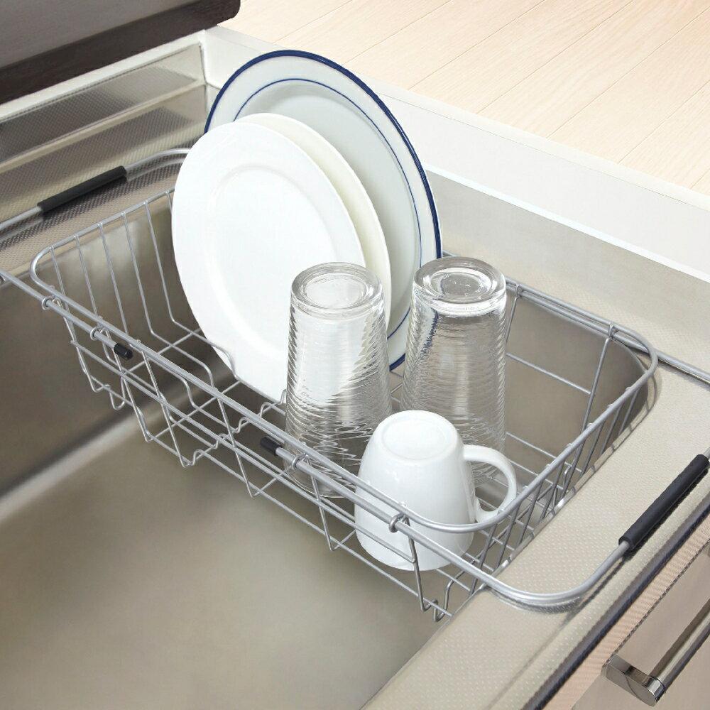 ASVEL流理台伸縮置物籃架 廚房收納 清潔乾燥 收納架 抗菌防霉 碗盤餐具 瀝水架