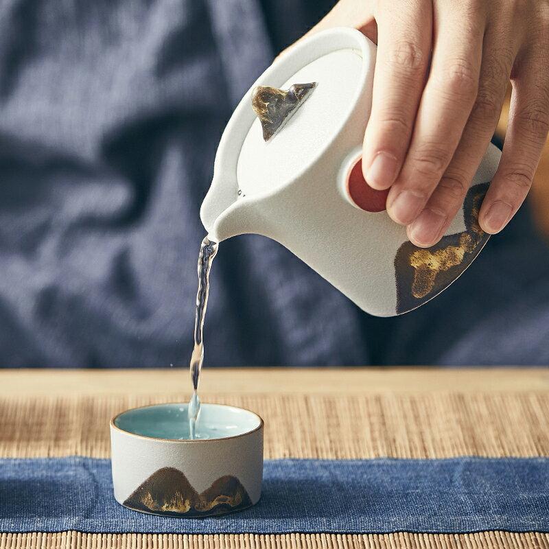 棲鳳居高山流水快客杯一壺二杯便攜包旅行茶具小套裝辦公室泡茶器