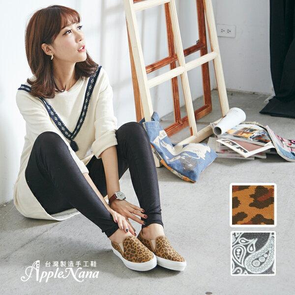 AppleNana。真皮印刷技限定發售。氣墊懶人樂福鞋【QT1202N1380】蘋果奈奈 2