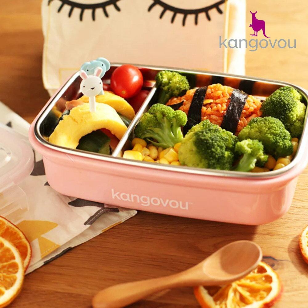 【kangovou】美國小袋鼠不鏽鋼安全 寶寶餐盒-珊瑚粉 3