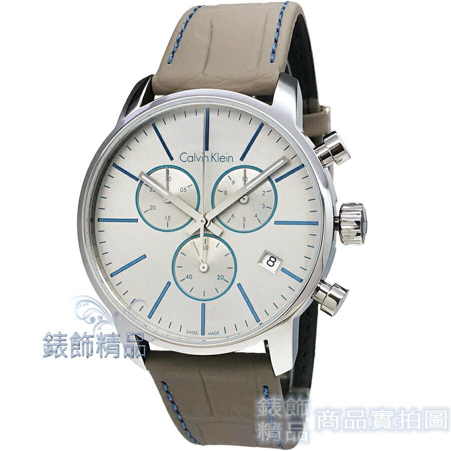 【錶飾精品】CK手錶 Calvin Klein K2G271Q4 經典時尚都會型男 三眼計時日期 灰皮帶 男錶
