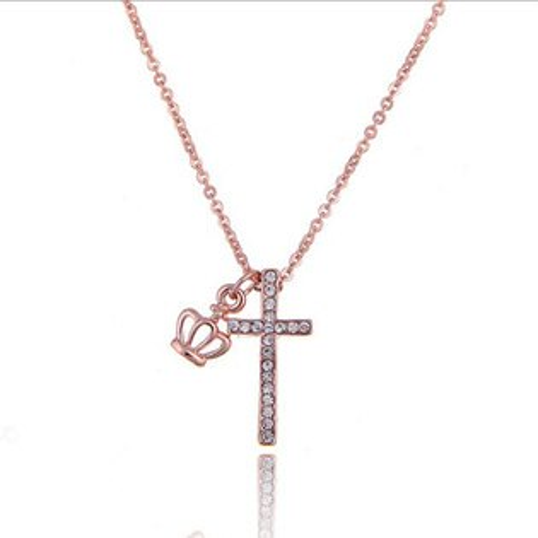 糖衣子輕鬆購【BA0034】韓版時尚氣質閃亮鑲鑽十字架鎖骨鍊短鍊項鍊毛衣鍊生日禮物