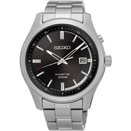 新年特惠4折起  SEIKO Kinetic 紳士典雅人動電能腕錶/黑面/SKA719P1(5M82-0AV0D) 情人節寵愛禮