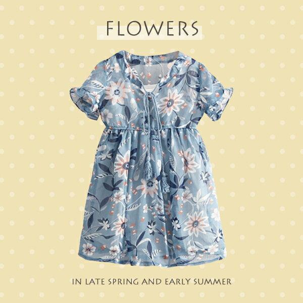 優雅花朵印花蝶綁結荷葉短袖連身裙0515(藍)【K12348】