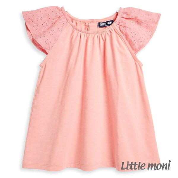 Littlemoni蕾絲飛袖上衣-粉紅