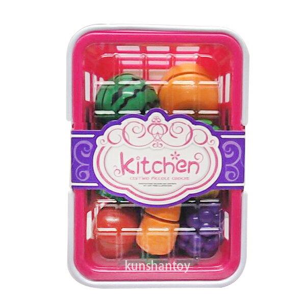 【崑山玩具X日韓 】手提籃切水果蔬菜  仿真玩具  切切樂  扮家家酒  兒童玩具  聖誕