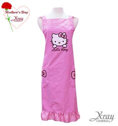 X射線【C520304】Hello Kitty荷葉邊造型口袋圍裙(粉紅 蝴蝶結),母親節/送禮/孝親/工作裙/家事/廚房/勞作的好幫手