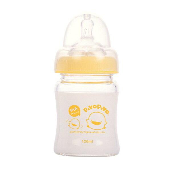 Piyo Piyo黃色小鴨 - 媽咪乳感防脹氣寬口徑葫蘆玻璃奶瓶 120ml